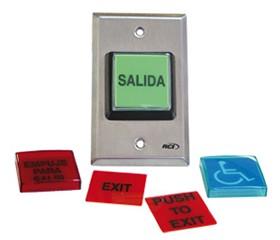Botón para salida con placas intercambiables