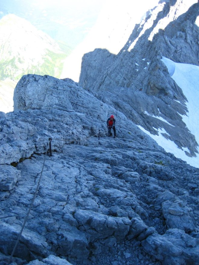 The via ferrata to the summit