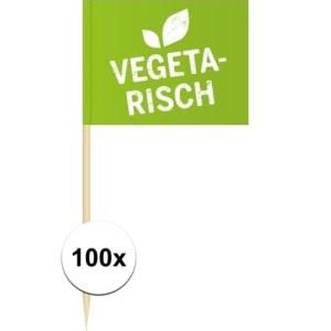 100x Vlaggetjes prikkers Vegetarisch 8 cm hout/papier