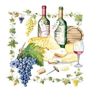20x Wijn/Kaas thema servetten 33 x 33 cm