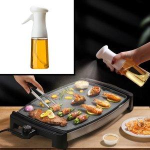 Decopatent® Olijfolie Sprayer - Oliefles met Verstuiver - Afvallen - Voor Gezond Bakken en Koken - Kook Bakspray - 210ML - Wit