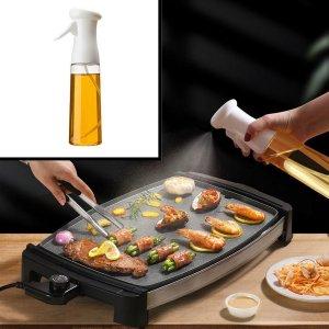 Decopatent® Olijfolie Sprayer - Oliefles met Verstuiver - Afvallen - Voor Gezond Bakken en Koken - Kook Bakspray - 320ML - Wit