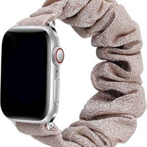Wabando bandje Scrunchie Cindy Kurkuma Goud compatibel met Apple Watch 44/42 mm - bandlengte S/M