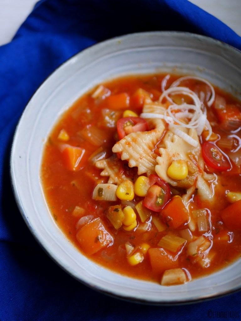 minestronesoep met pasta