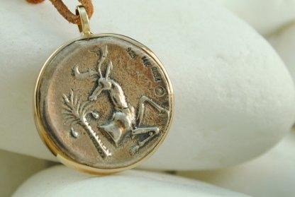 Goddess Artemis Coin Pendant - 925 Silver & 14k Gold by A.LeONDARAKIS