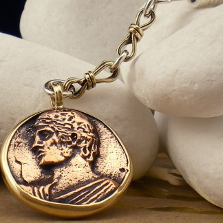 """Heniokhos"" Sterling Silver Keychain with K14 gold and copper coin - A. LeONDARAKIS"