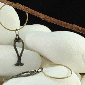'Hooked' Bicolour Dangle Fish Earrings by A.LeONDARAKIS