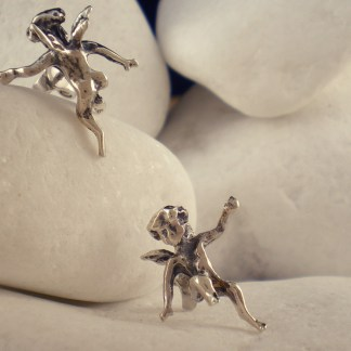 """Angel"" Sterling Silver Stud Earrings by A.LeONDARAKIS"