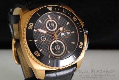 Ralf Tech WRX Sunset Explorer Automatic Chronograph, Carbon, Rose Gold PVD, Black Leather Strap, 300m, Divers Mens Watch