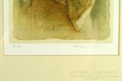 Miltos Pantelias Signed Limited Lithograph Print, Woman Portrait, Framed