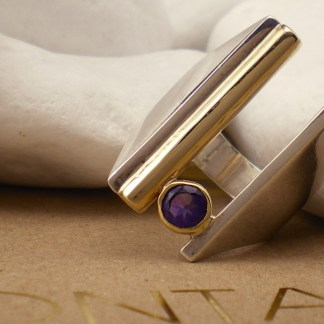 """""""Float"""" Natural Purple Amethyst Cocktail Ring - Sterling Silver, 18k & 14k Gold by A.LeONDARAKIS"""