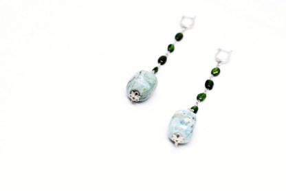 'Tropical Fancy' Long Silver Earrings with Opals and Green Grenades by Loga di Lusso
