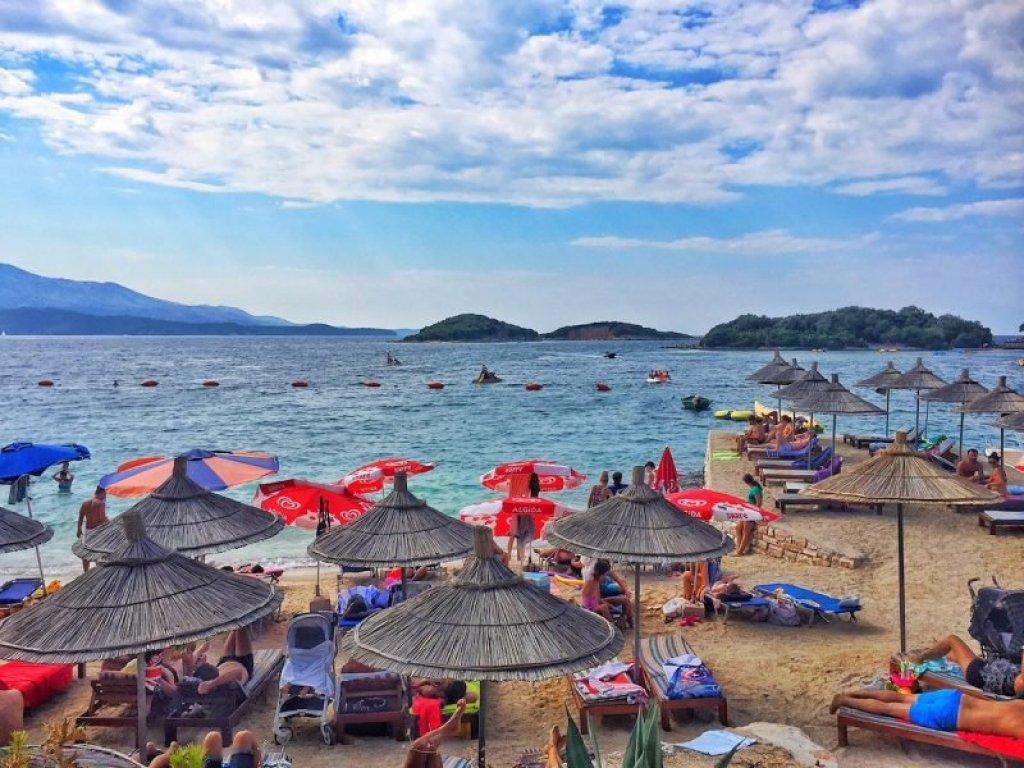 Ksamil Beach - umbrellas beach and water