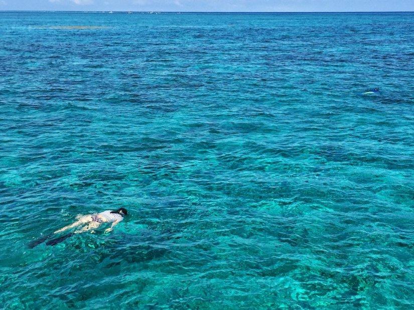 Me snorkeling in Belize in Caye Caulker