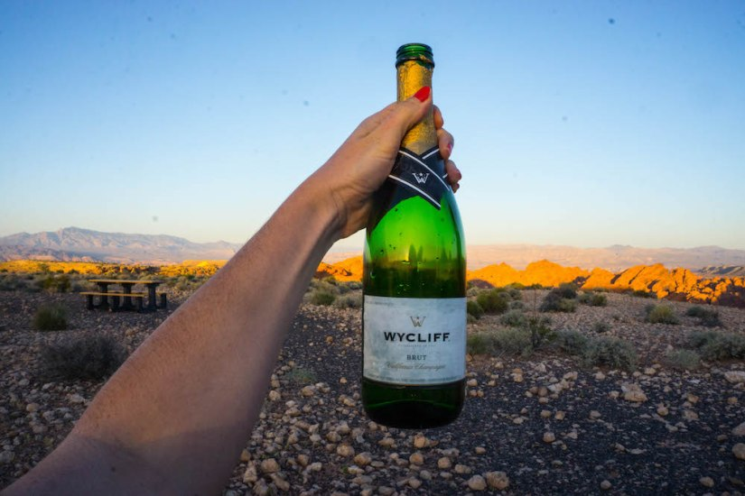 Sunset toast over the Valley of Fire with a bottle of champagne!