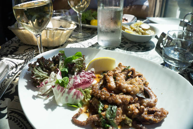 A dish of octopus with a salad in Malta