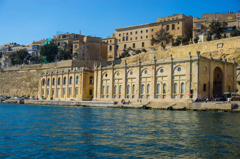 the Valletta harbor in Malta approaching from a boat