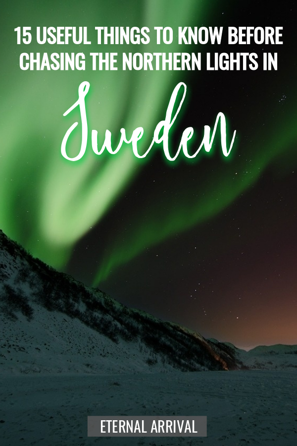 Planning a Northern lights trip? Try chasing the Northern lights in Sweden. Swedish Lapland is one of the best places on earth to see the aurora borealis. Here are 15 things to know before planning a trip to Northern Sweden! Tips on Abisko, Kiruna, Jukkasjarvi / Ice Hotel and beyond.