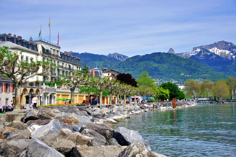 the lakefront promenade of the town of vevey in the swiss riviera along lac leman, a beautiful day trip option from geneva
