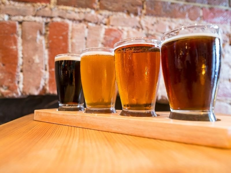 A flight of 4 beers including a dark stout, a light lager, a medium-colored pale ale, and a red ale.
