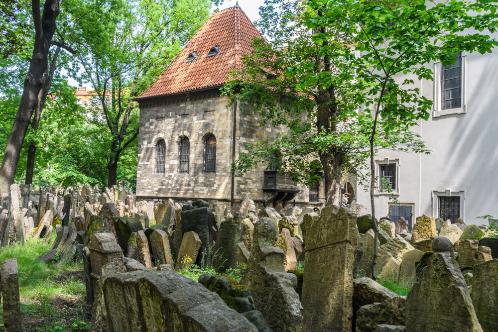 Gravestones stacked up on top of each other in the Old Jewish Cemetery with greenery growing around it, a small building in the middle of the gravestone with a red roof.