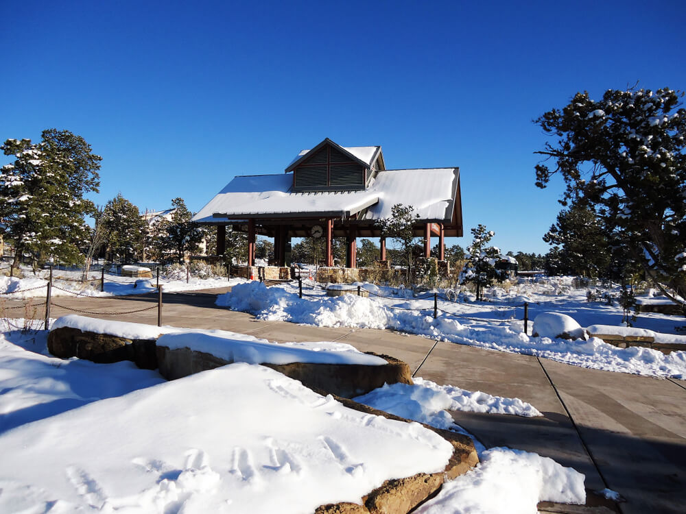 A snow covered visitor center at the North Rim of Grand Canyon National Park