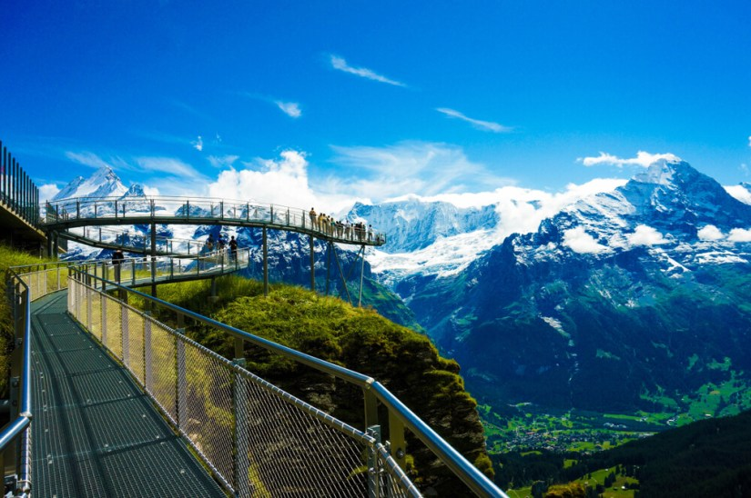 The scenic Cliff Walk activity at Grindelwald First, a summer adventure center