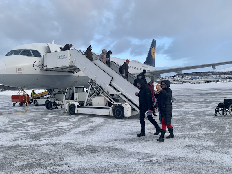 Passengers disembarking a SAS flight in Tromso