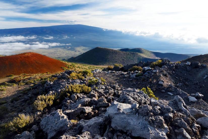 volcanic rock and cinder cones on the mauna loa summit trail on the big island