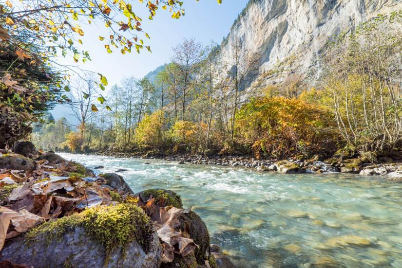 A calmer part of the Lütschine river in Lauterbrunnen Valley, Switzerland