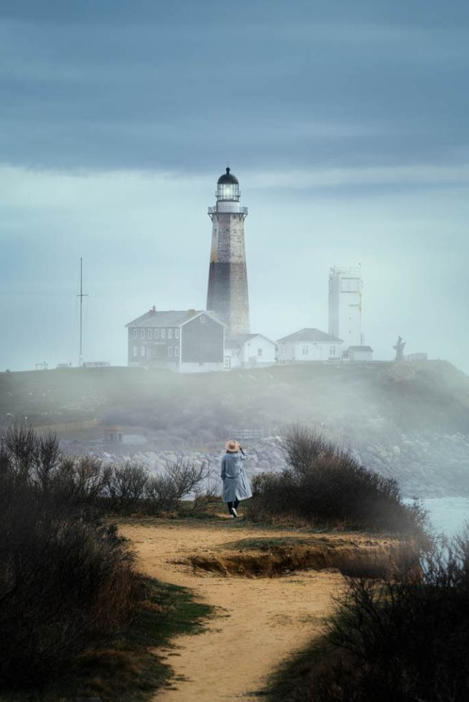 A foggy day looking at a lighthouse in Montauk
