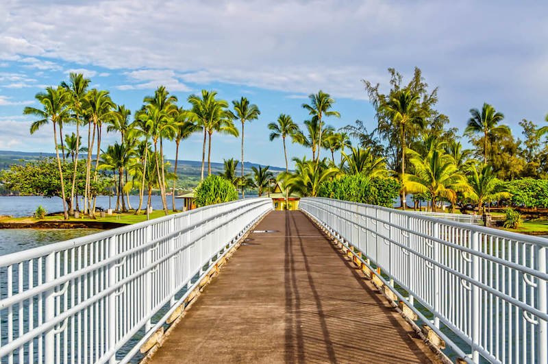 Bridge leading towards the Coconut Island in Hilo, from the gardens