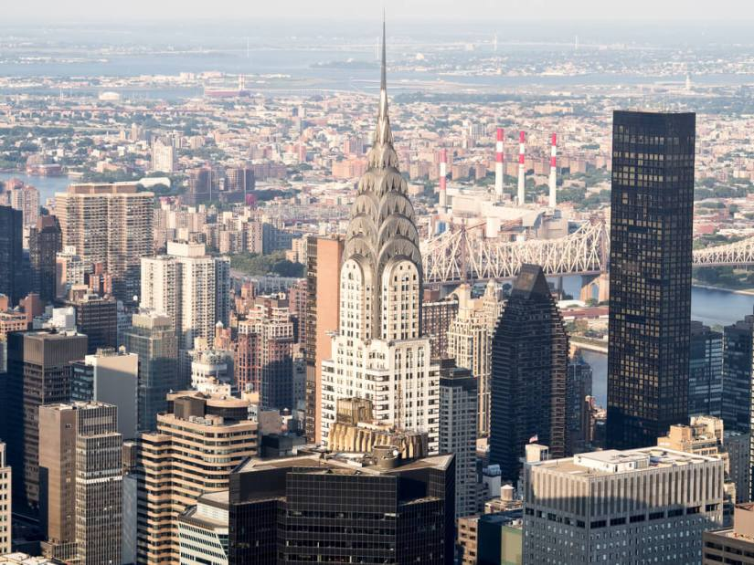 View of the Art Deco architecture of the Chrysler Building in NYC