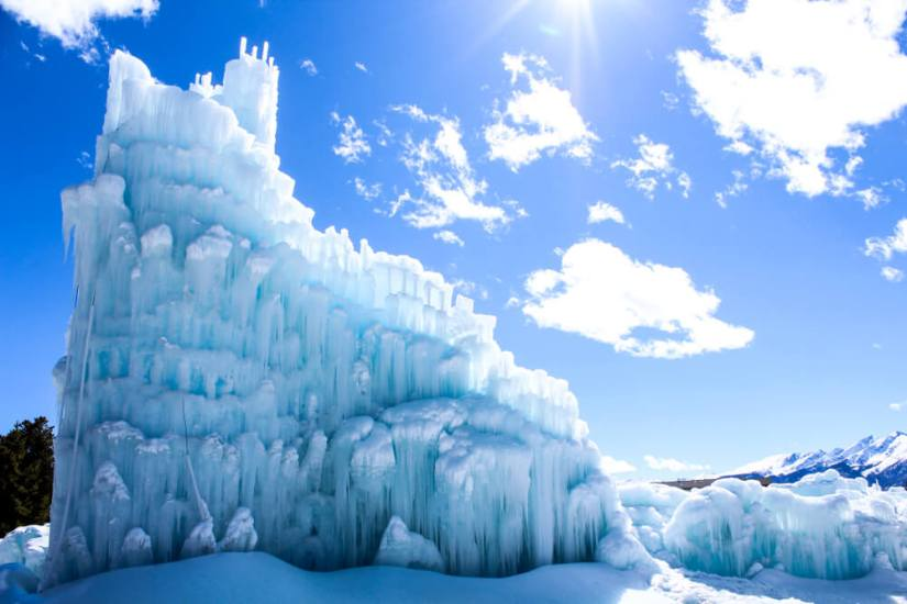 Blue-tinted ice castle in Dillon Colorado an hour from denver in winter