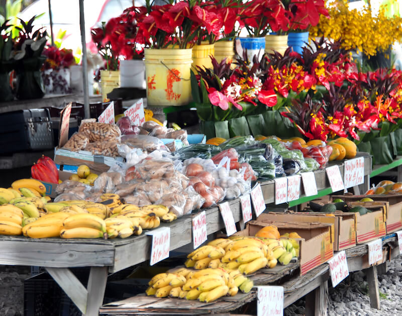 Flowers, bananas, and other produce and goods at the Hilo Farmers Market