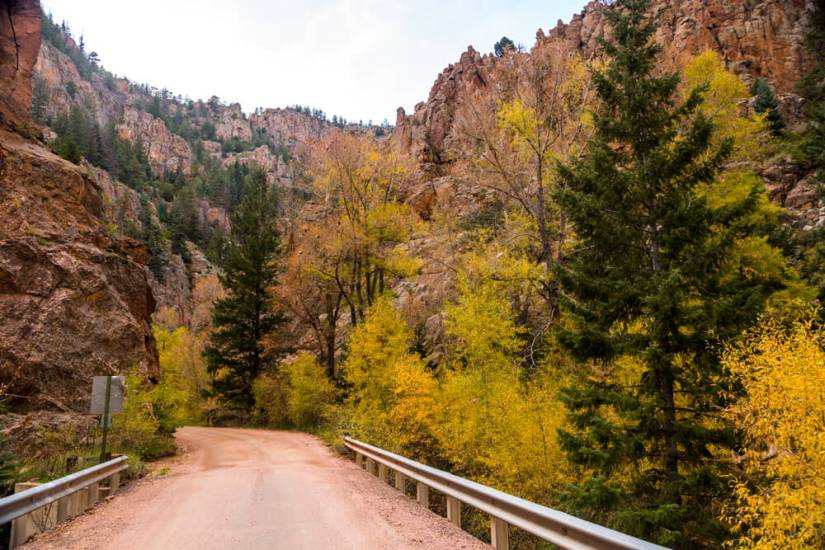 Fall drive through Phantom Canyon in Colorado, USA with its brilliant yellow aspens