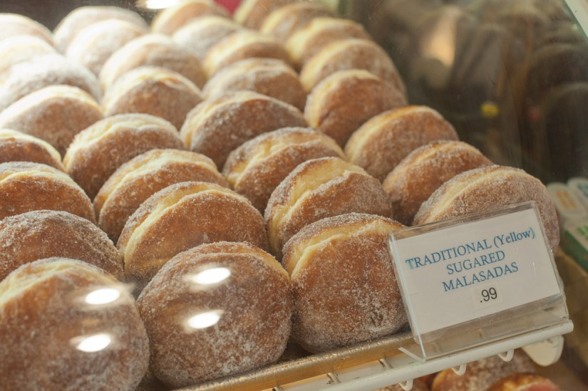 traditional portuguese donuts covered in sugar