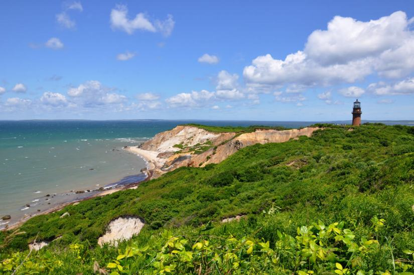 Martha's Vineyard, Cape Cod photo of cliffs and lighthouse (Gay Head) on a beautiful clear summer day