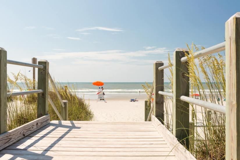 beach with lifeguard tower in south carolina at myrtle beach