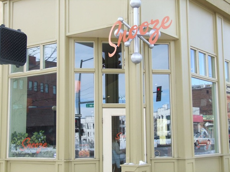 The exterior of the Snooze eatery, a popular breakfast stop on a weekend in Denver