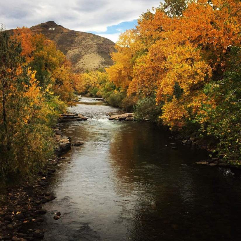 Landscape in the fall at Clear Creek with fall foliage and a mountain in the distance with the letter M