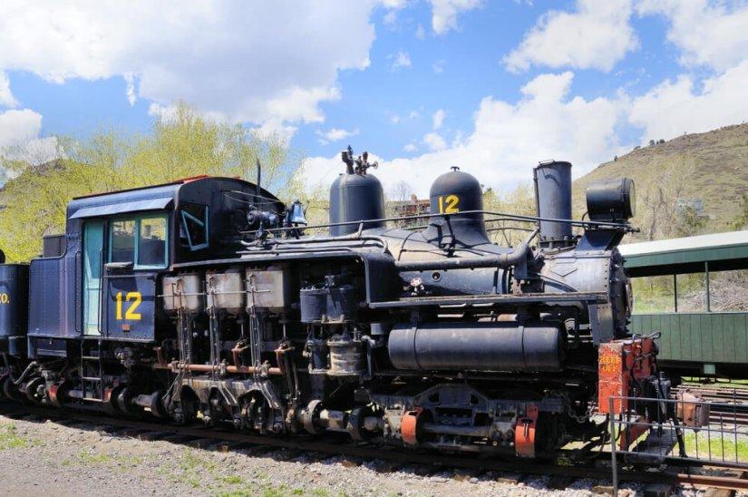 Colorado vintage train in the museum in Golden Colorado