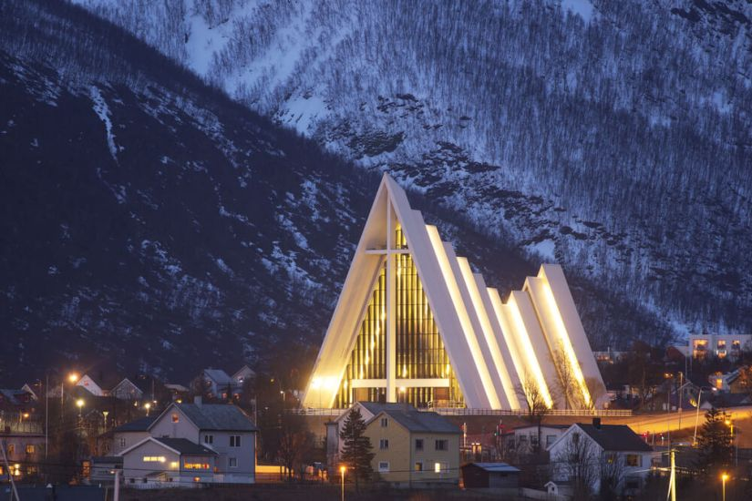 lit up cathedral in norway