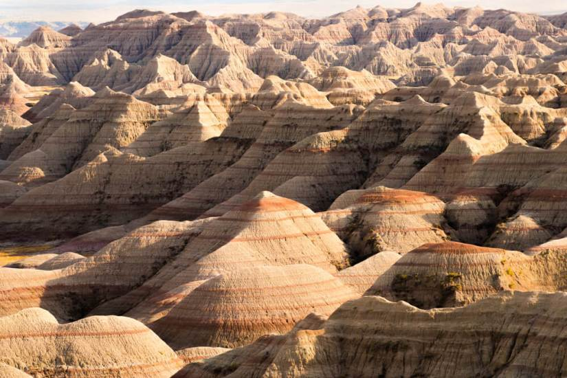Rock formations in Badlands National Park with shadow and light coming into play
