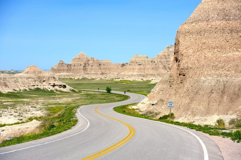 Twists and turns in the road of Badlands Loop Drive in South Dakota