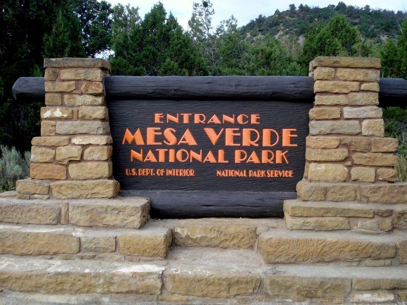 sign that reads entrance mesa verde national park