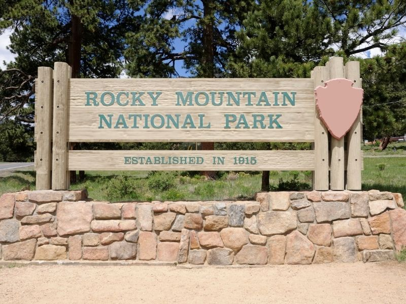 Sign at the entrance of Rocky Mountain National Park. Established in 1915