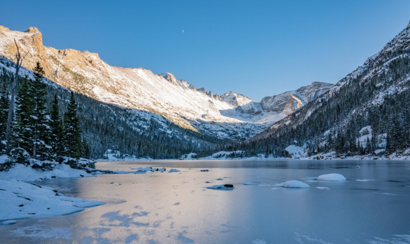 """Hiking Trail to a Frozen Lake Beneath """"The Spearhead"""" in Glacier Gorge, Rocky Mountain National Park"""