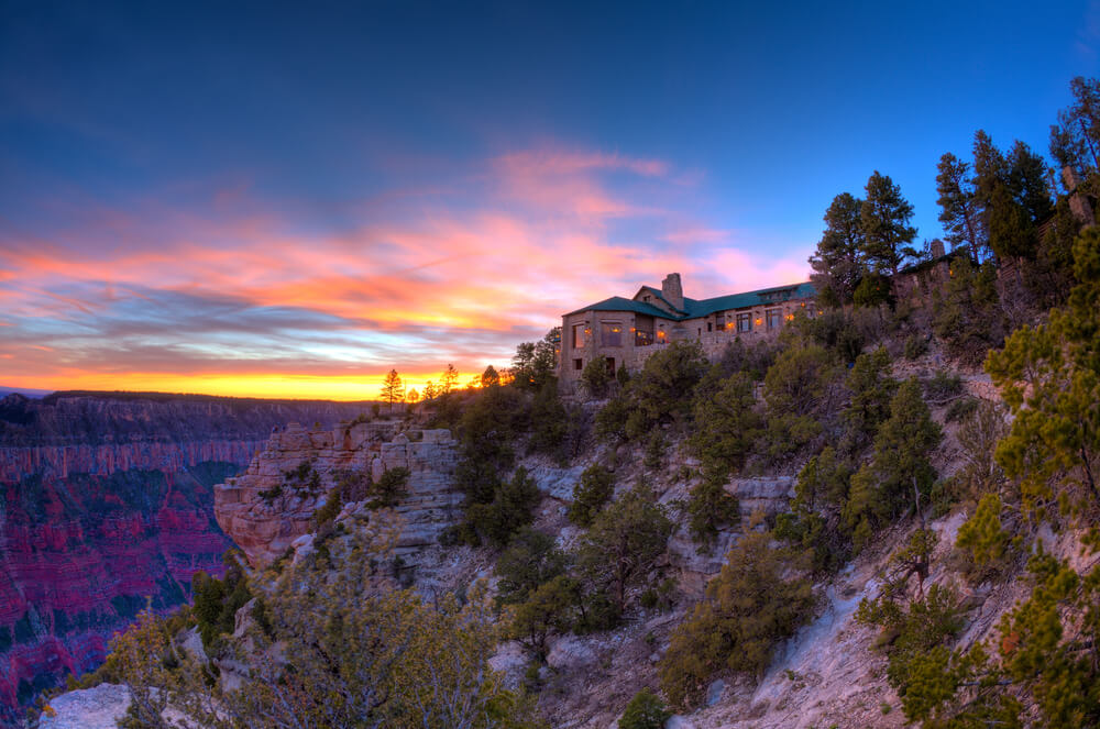 grand canyon lodge at sunset in the north rim grand canyon