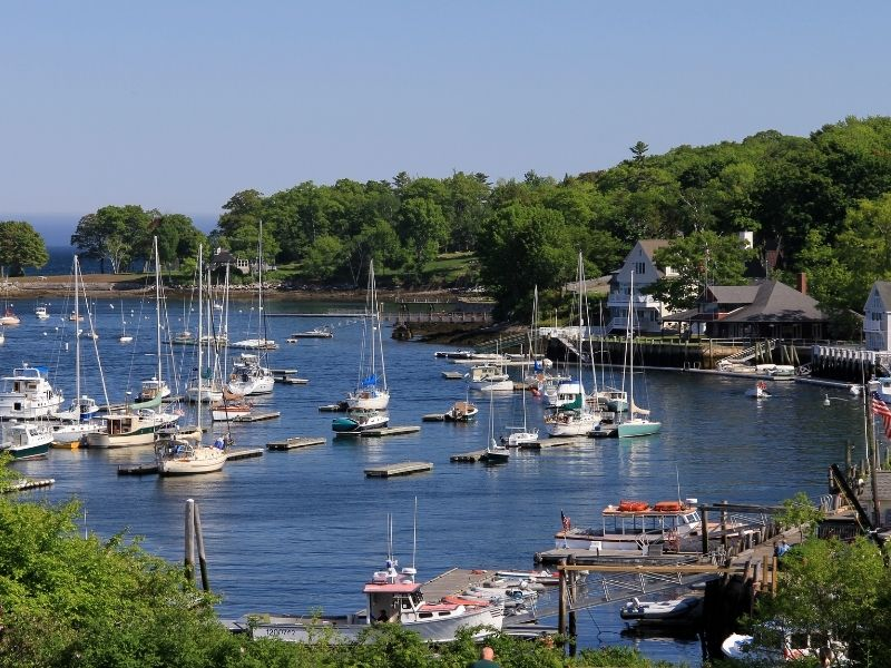 sailboats in the harbor of camden maine